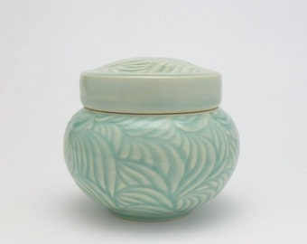 Bermuda Green Porcelain Petite Covered Jar