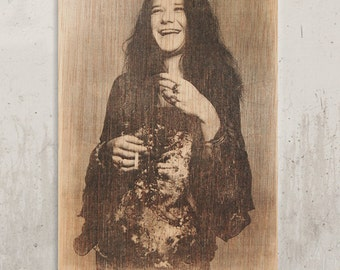 Janis Joplin - Legend of rock, b & w / / Transfer on wood