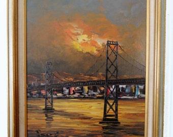 Peter Bunell Signed Original Oil Painting of San Francisco Bay Bridge, Mid-Century Modern