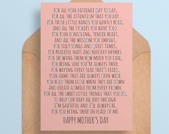 Mother's Day Card for Nanny//Caregiver - Mother's Day - A Mother's Thank you - Printable Card - Digital Download
