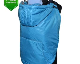 Winter maternity coat extender Blue, Babywearing Coat Extender, Baby carrier cover, Toddler carrier cover, Babywearing