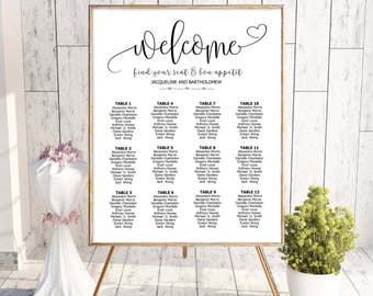 Wedding seating chart template, seating chart printable, editable seating plan, Reception sign, Find your seat sign