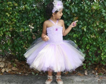 Birthday Tutu Dress, Girls Lavender Purple Party Dress, Girls Birthday Dress, Girls light Purple Golden Mix Dress And Headband Set