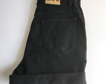 Vintage Lee High Waisted Black Denim Shorts // US Women's 10 Long // Retro Summer Shorts // Festival Shorts // Upcycled Clothing