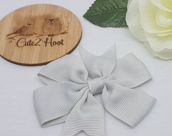 Silver Bow Clip - 3inch Pinwheel Bow, Bow Hair Clips, Hair Clips, hair accessories, baby hair clips, girls hair clips, alligator clips