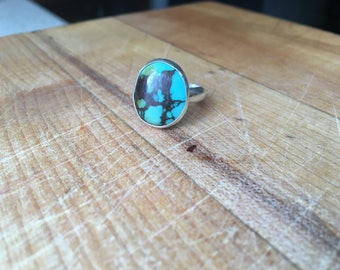 Sterling Silver and Hubei Turquoise Ring - size 5.5