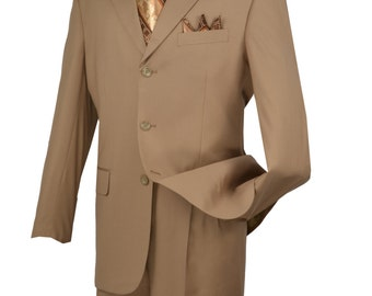 Classic-fit men's suit 2 piece suit 3 bottons solid khaki suits new with tag