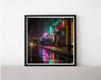 Neon Rainbow // Poster, Photography, Berlin, Neon, Lights, Image, Picture, Square Format, Wall Decor, Home Decor, urban, mood, vibe, city