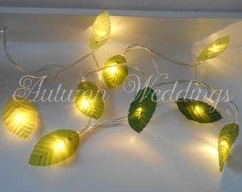 Green Leaves Fairy Lights String Lights - LED Leaf Garland - Indoor Battery Operated - Choose 1m 2m 3m 4m 5m - Wedding Bedroom Decoration