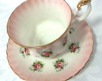 Vintage Royal Albert 'Forget-Me-Not Rose' bone china, teacup & saucer, pink
