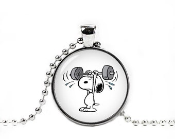 Snoopy Necklace Snoopy Pendant Snoopy Weight Lifting Snoopy Jewelry Cosplay Fangirl Fanboy