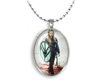 Lagertha Shieldmaiden Oval Pendant Lagertha Necklace Vikings Fandom Jewelry, Cosplay, Fangirl, Fanboy