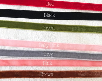 7pk velvet chokers set pink brown green gray red black