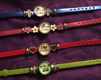 Genuine Leather Colored Youth Interchangeable Snap Bracelets with Charms and an 18mm Snap with Various Sayings