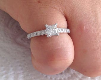 Certified 0.95 CT Princess cut & Round cut Diamond engagement Ring 14k white gold  hand made