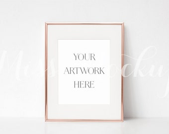 8x10 digital rose gold frame mockup portrait stock photo styled photography prints illustration instant download