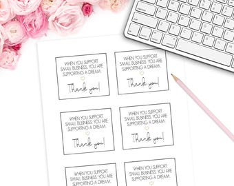 """Printable Mini Thank You Cards (6 Per Sheet) 8.5"""" x 11"""" DIGITAL DOWNLOAD Small Business    Thank You For Shopping"""