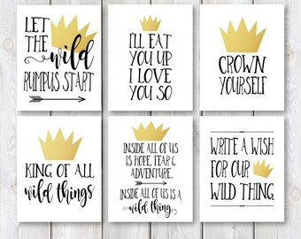 """Where The Wild Things Are 8""""x10"""" AND 5""""x7"""" Birthday Party Printable Signs 