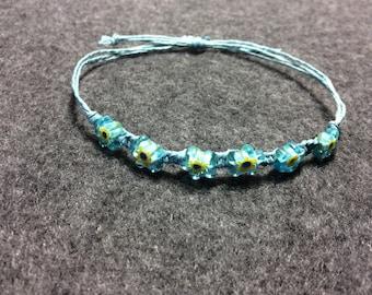 Aqua Colored Flower Bead Bracelet