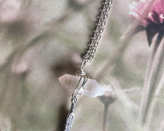 Clear Quartz Crystal Feather Necklace
