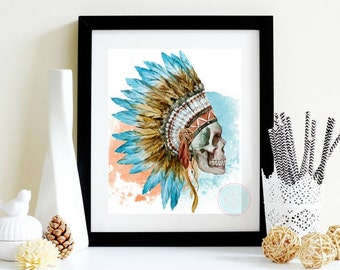 PRINTABLE Tribal Print Skull Art Print Watercolor Skull Art Human Skull Prints Skull Print Watercolor Poster Skull Decor Skull Decoration