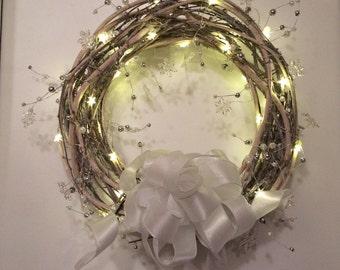 Winter Grapevine Wreath, White Christmas Wreath, White Christmas Front Door Wreath, White Winter Wreath, Christmas Front Door Wreath