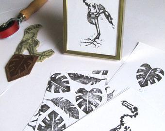 Linocartes linocut print