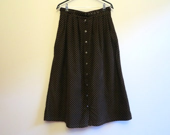 Chocolate Brown Skirt Speckled Skirt Buttons Down Skirt Corduroy A Line Skirt Long Pleated Skirt Medium Size
