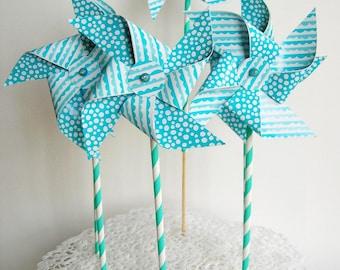 Paper pinwheels 6 PCs. Blue straws, cake topper, cake topper, decoration.