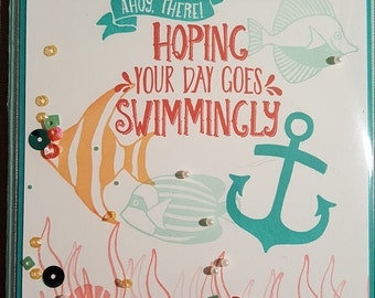 Seaside Shore - Hope Your Day Goes Swimmingly Shaker Card - Handmade - Stampin' Up - Greeting Card