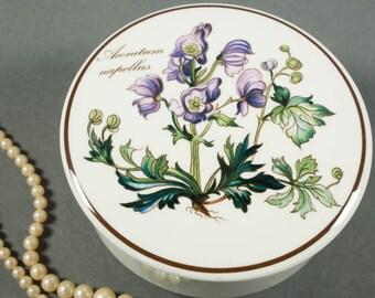 Villeroy & Boch Trinket Box Botanica Aconitum napellus, Monkshood, Porcelain, Lidded Round Container