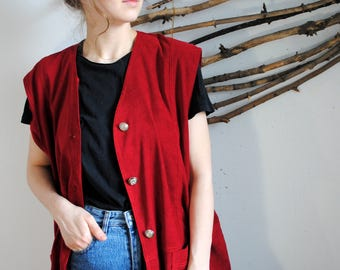 Star line vintage red womens vest 90s gold buttoms Waistcoat