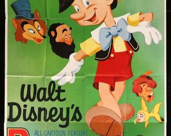 "Pinocchio (1940) Original R62 Three-Sheet Movie Poster - 41"" x 84"""