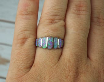 Fire Opal Ring Size 6 1/2, 1980's Sterling Purple & Green Inlay AMAZING FLASH and COLOR Vintage Estate