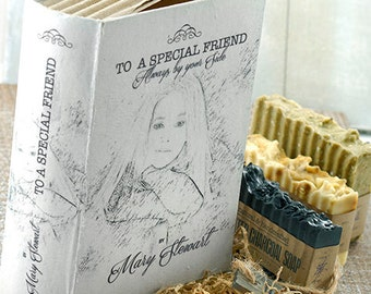 PERSONALIZED GIFT Set of Two or Three Soaps BOX Book Alike~Valentine's gift-wedding gift-anniversary-soap gift set-valentine's day gift