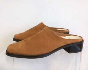 Suede Camel Colored Slip-On Mules