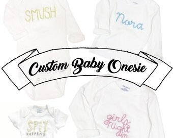 CUSTOM Hand-Embroidered Baby Onesie - YOUR DESIGN- Personalized, Embroidery