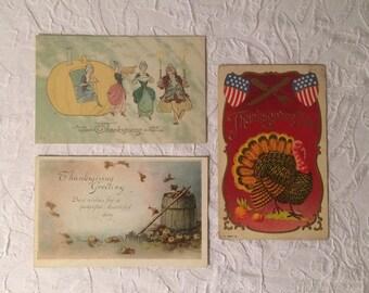 Three Beautiful Thanksgiving Post Cards