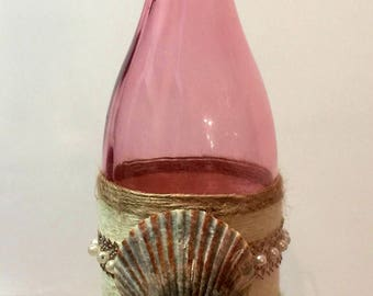 Decorative bottle, Coastal decor beach, Beach decor, Shell decor, Sea shell home decor, Table top decor, Coastal bathroom decor, Home decor