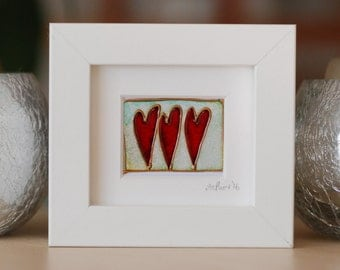 Three lovely Hearts  - Mini works of Art - framed