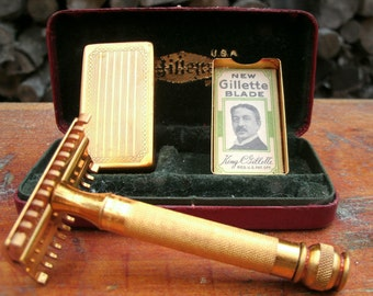Gillette Travel Razor Kit, Antique Gold Tone, 1920s Shaving Kit, Gift for Him, Gift for Dad