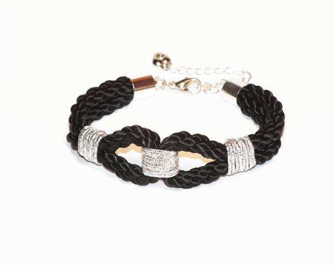 Black Rope bracelet,Rope Bracelet, Rope Jewellery, Charm Bracelet, Black bracelet, Womens bracelet