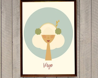 Virgo Zodiac Sign, Virgo Art Print, Astrological Sign, Zodiac Poster, Scandinavian Print, Illustrated Poster, Virgo Zodiac Illustration