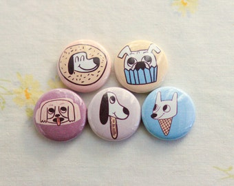 Cute Dog Magnets / Puppy Magnets / Dog Magnet Set / Puppy Fridge Magnets / Rescue Dog Magnets / Dog Magnet Sets / Illustrated Dog Magnets