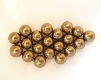 24pcs 8mm Swarovski Antique Brass Round Pearls- 8mm Brass Pearls- Swarovski 5810- Item ABP8R