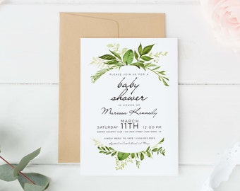 Digital Baby shower invitation, Boho baby shower Shower, Greenery baby shower invitations, Garden shower, printed option