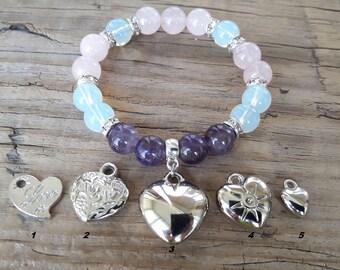Heart bracelet amethyst bracelet rose quartz heart charm bracelet moonstone bracelet fertility good luck love bracelet gift for girlfriend