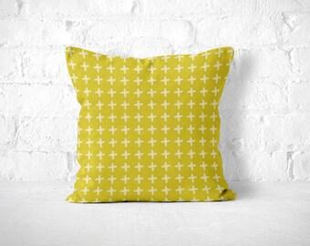 Mustard Throw Pillow, Scandinavian Pillow, Crosses, Cute Throw Pillow, Accent Pillow, Mustard Pillow Case, Mustard Pillow, Minimalist Pillow