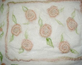 "Nuno Felted Merino Wool Baby Blanket, Wall Hanging, ""Peach Flowers"""
