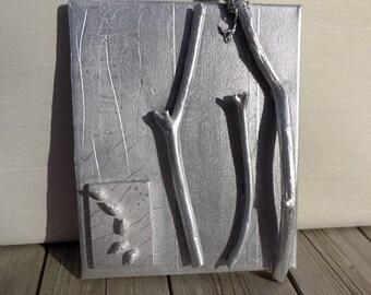 "Rectabgular picture, artistic silvered picture, titled ""Forêt argentée sur fond patiné II """